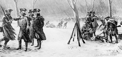 American soldiers making the most of the appalling conditions at Washington's retreat at Valley Forge in the winter of 1777-8