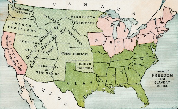 Map of America in 1854 showing free and slave states