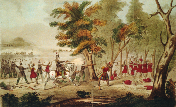 The Battle of the Thames, also known as the Battle of Moraviantown, a decisive American victory in the War of 1812 against Great Britain, on October 5, 1813, near present-day Chatham, Ontario, showing the death of native American leader Tecumseh