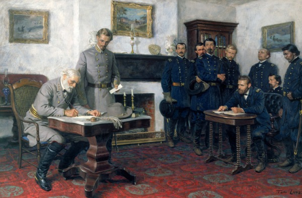 Confederate General Robert E. Lee (left) signs the terms of surrender to Union General Ulyses S. Grant on 9 April 1865, as painted by Tom Lovell in 1964