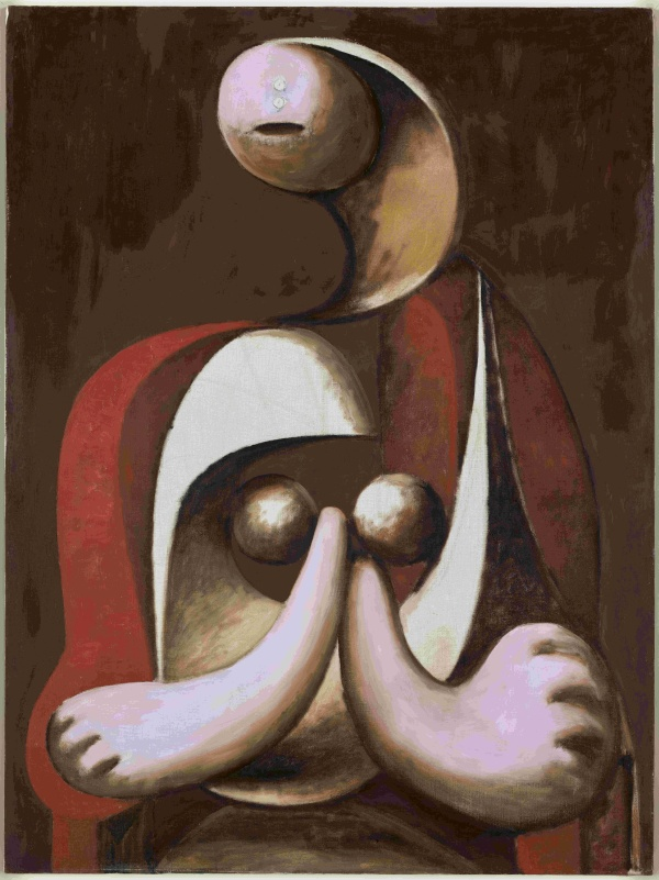 Seated Woman in a Red Armchair (1932) by Pablo Picasso. Musée national Picasso © Succession Picasso/DACS London 2018