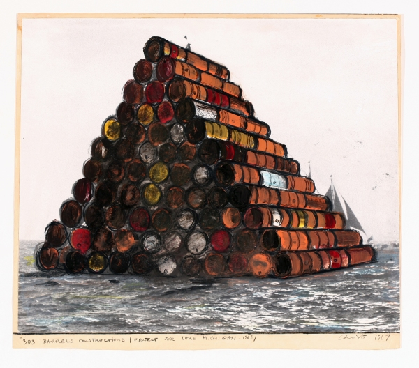 Christo, 303 barrels Construction (Project for Lake Michigan – 1968), Collage, 1967, 47.6 x 54.6 cm, Wax crayon, enamel paint and photostat on card, Courtesy of the artist, Photo: André Grossmann, © 1967 Christo