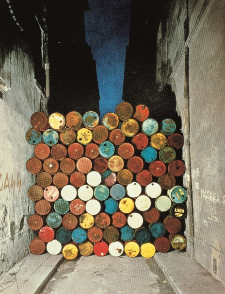 Wall of Barrels - The Iron Curtain, Rue Visconti, Paris, 1961-62 by Christo and Jeanne-Claude. Courtesy of the artist, Photo: Jean-Dominique Lajoux © 1962 Christo
