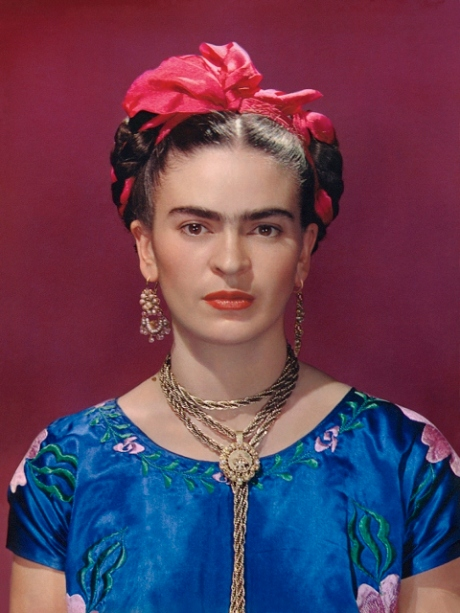 Frida Kahlo in blue satin blouse, 1939, photograph by Nickolas Muray © Nickolas Muray Photo Archives