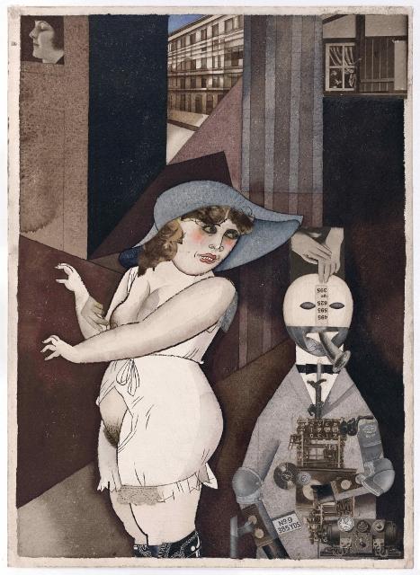 'Daum' Marries her Pedantic Automaton 'George' in May 1920, John Heartfield is Very Glad of It (1920) by George Grosz © Estate of George Grosz, Princeton, N.J.