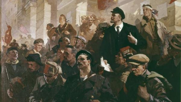 Lenin's Address at the Finland station in Petrograd, 1917 by Nicolai Babasiouk (1960)