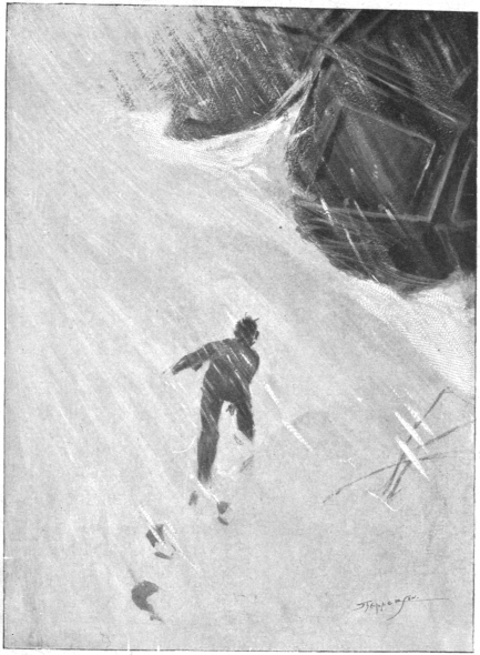 An exhausted Bedford just about makes it back to the sphere as snow falls, illustration for The First Men In The Moon by Claude Allin Shepperson