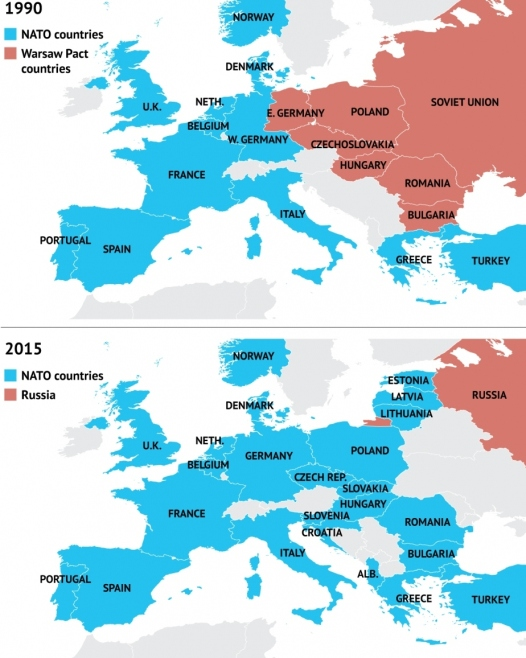 Maps of NATO in 1990 and 2015 showing how NATO has extended its reach right to the borders of Russia