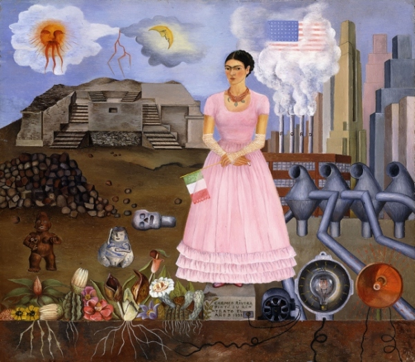 Self-portrait on the Border between Mexico and the United States of America by Frida Kahlo (1932) © Modern Art International Foundation