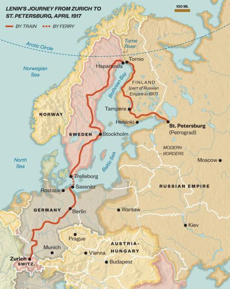 Lenin's train journey from Switzerland to the Finland Station in St Petersburg