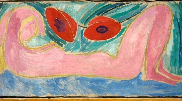 Nude with Poppies (1916) by Vanessa Bell. Swindon Art Gallery