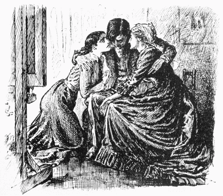 Billee in the arms of his sister and mother