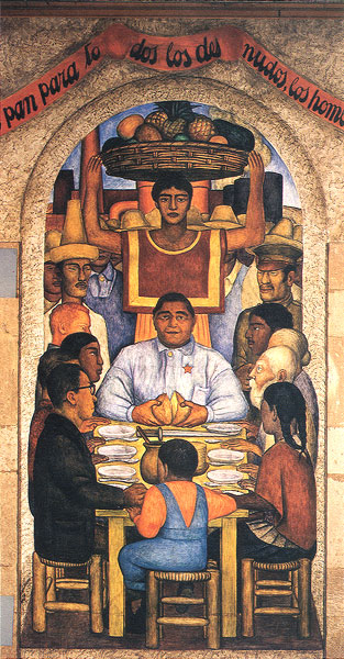 'Our Bread from the Ministry of Education (Court of the Fiestas) by Diego Rivera (1928)