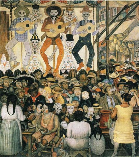 The Day of The Dead - The Minitry of Education (Court of the Fiestas) by Diego Rivera (1924)