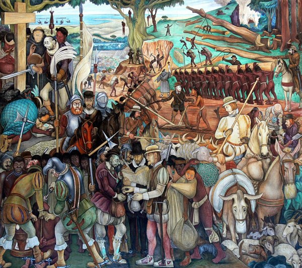 Mural of exploitation of Mexico by Spanish conquistadors in the Palacio Nacional, Mexico City by Diego Rivera