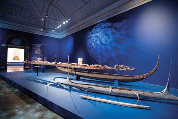 Installation view of canoes at Oceania, the Royal Academy