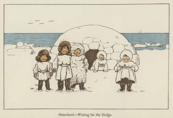 Greenland - Waiting for the sledge, illustration for All The World Over by Edith Farmiloe (1898)