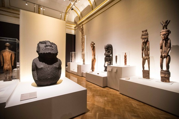 Installation view of canoes at Oceania atthe Royal Academy