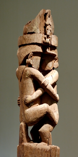 Carved wooden pole for a ceremonial house, Magura village, Solomon Islands, 17th century