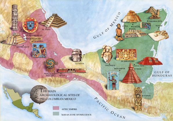 Map of Mesoamerica showing the most important cities and historical sites. Red shading shows area of Aztec influence, green shading for the Maya region