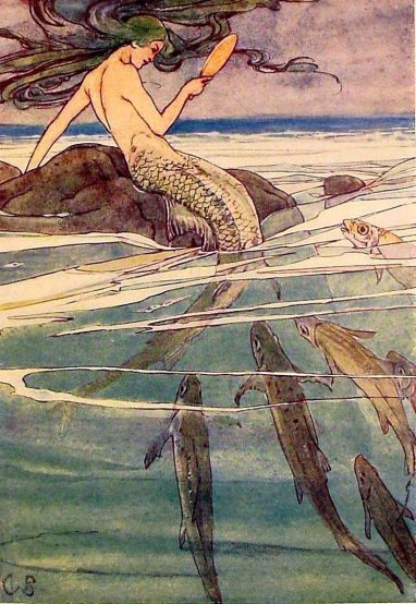 Mermaid Combing Her Hair by Alice B. Woodward, illustration from The Peter Pan Picture Book