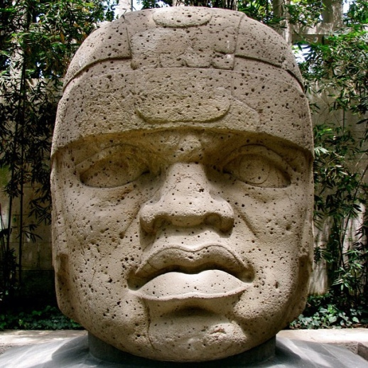 The Olmec people carved massive stone heads