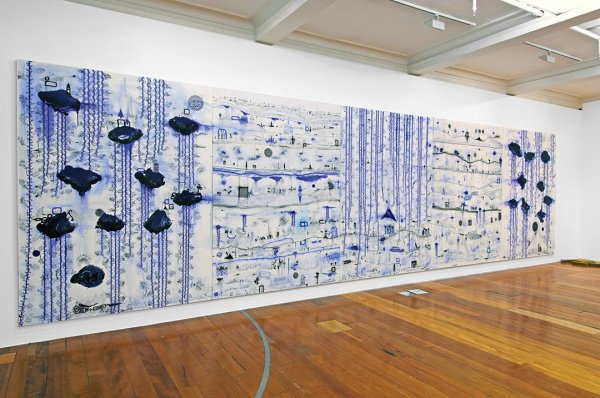 Installation view of Kehe tau hauaga foou (To all new arrivals) by John Pule (2009)