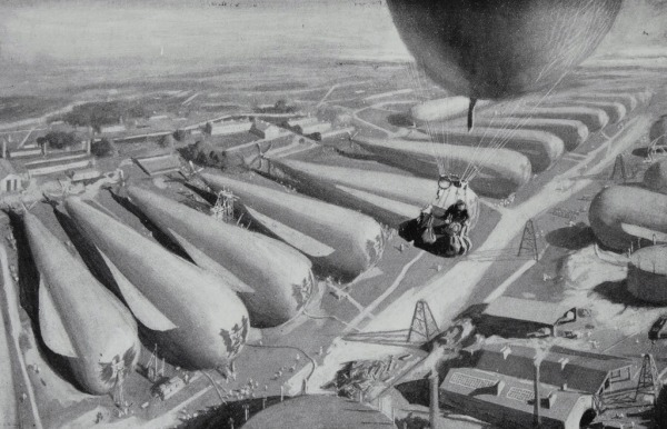 Bert Smallways accidentally stumbles upon the vast German airship depot