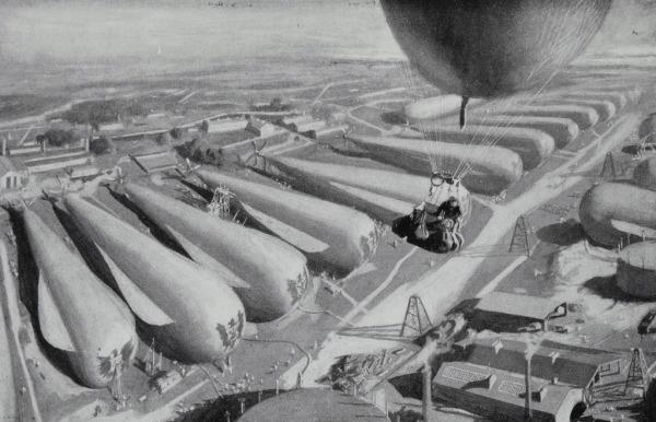 Bert Smallways accidentally stumbles upon the vast German airship depot