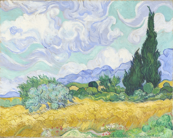 A Wheatfield, with Cypresses (1889) by Vincent van Gogh by the Courtauld Fund, 1923 © The National Gallery, London