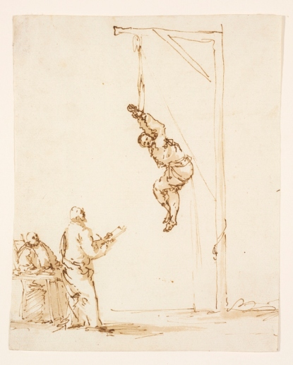 Inquisition scene by Jusepe de Ribera (1635) pen and brown ink. Museum of Art, Rhode Island School of Design. Photo by Erik Gould