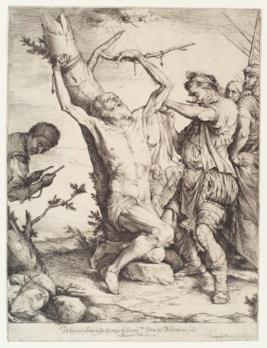Martyrdom of St Bartholomew by Jusepe de Ribera (1624) etching © The New York Public Library