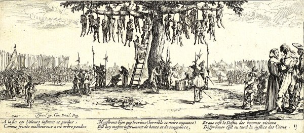 The Hanging from Les Grandes Misères de la guerre by Jacques Callot (1633)