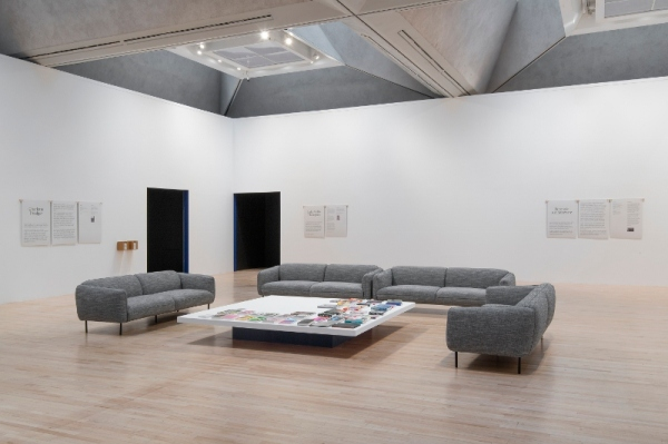 Turner Prize lounge, sofas, table and books
