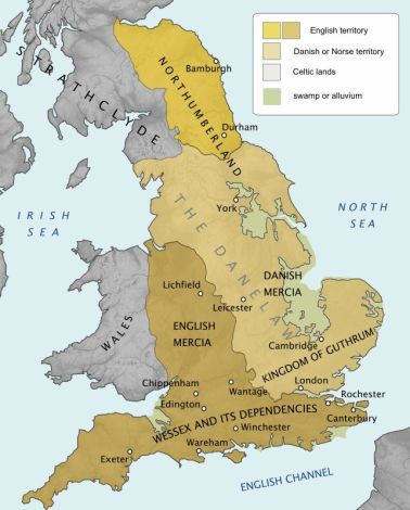 England about 900 AD, showing the border between the Danelaw and Wessex