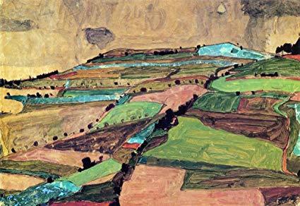 Field landscape (Kreuzberg near Krumau) 1910 by Egon Schiele