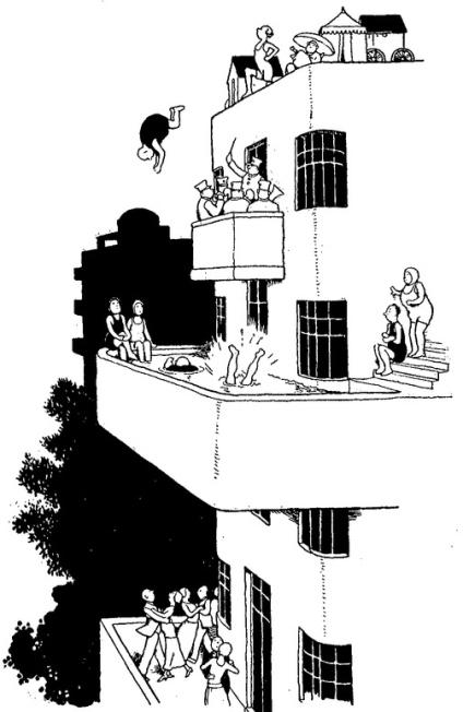 Holiday joys in modern flats by William Heath Robinson