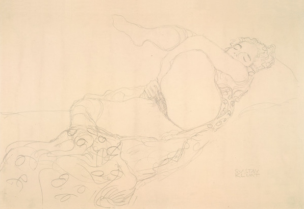 Reclining nude with leg raised by Gustav Klimt (1907)