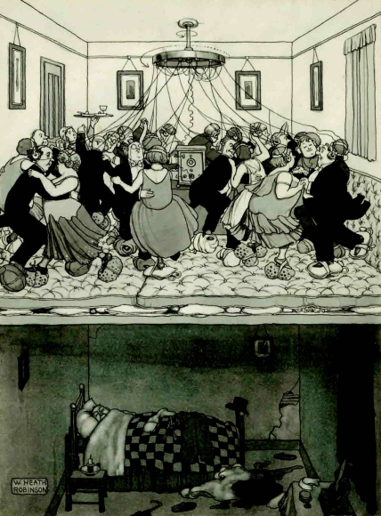 How to take advantage of the Savoy Orphean dance music broadcast by the BBC without disturbing your neighbour in the flat below by William Heath Robinson