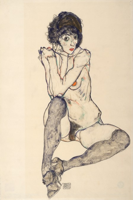 Seated Female Nude, Elbows Resting on Right Knee (1914) by Egon Schiele. Graphite and gouache on Japan paper. The Albertina Museum, Vienna