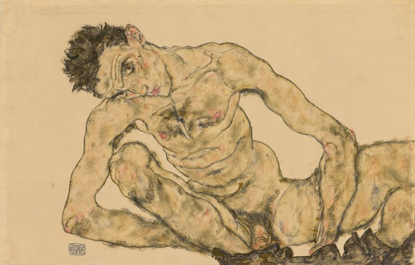 Nude Self-Portrait, Squatting (1916) by Egon Schiele. Pencil and gouache on packing paper. The Albertina Museum, Vienna