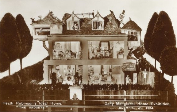"Contemporary postcard of William Heath Robinson's 'Ideal Home' - ""The Gadgets"" displayed at the Daily Mail Ideal Home Exhibition at London Olympia in 1934"