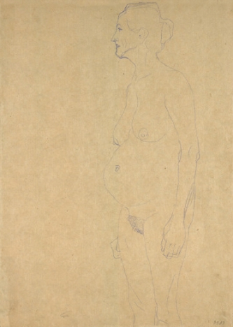 Standing older woman in profile (study for three Ages of Woman) by Gustav Klimt (1905)