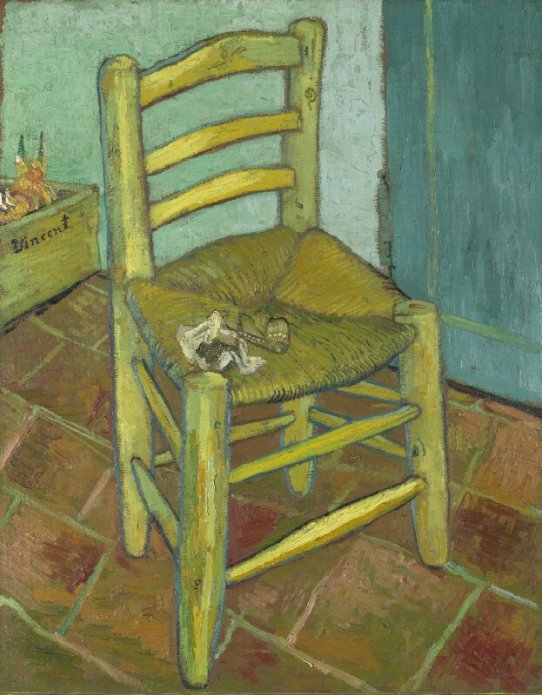 Van Gogh's chair by Vincent van Gogh. Not in the Courtauld Impressionist exhibition, but free to see at the National gallery