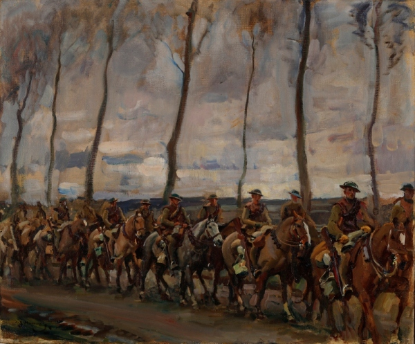 Fort Garry's on the march by Alfred Munnings (1918) © Canadian War Museum