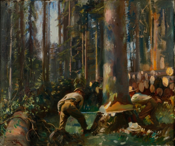 Felling a tree in the Vosges by Alfred Munnings (1918) © Canadian War Museum
