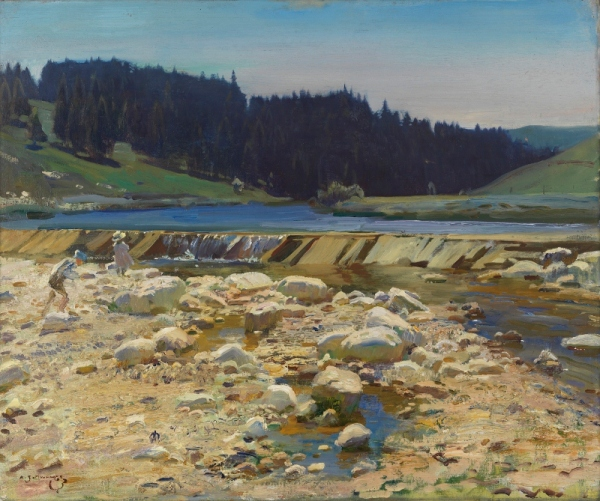 A Stream Bed at Labergement, Jura Forest by Alfred Munnings (1918) © Canadian War Museum