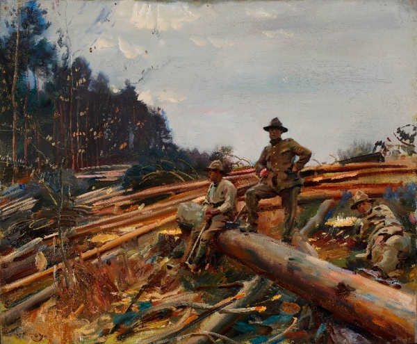 Lumbermen among the pines by Alfred Munnings (1918) © Canadian War Museum