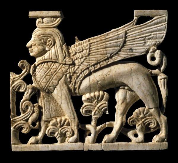 Striding sphinx from 'Fort Shalmaneser', Nimrud, Iraq (900 -700 BC) © The Trustees of the British Museum