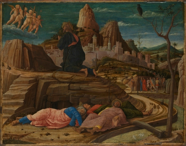 The Agony in the Garden (about 1455–6) by Andrea Mantegna. Egg tempera on panel © The National Gallery, London